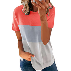 2021 European and American summer trend new women's wish Amazon explosion casual round neck contrast short sleeve T-shirt now