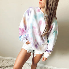2020 European and American autumn and winter foreign trade new women's wear wish Dunhuang round neck long sleeve printed sweater coat