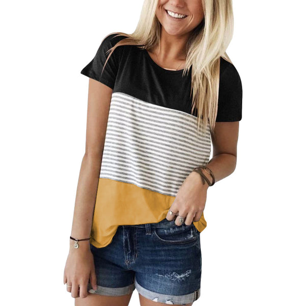 2021 Amazon Express women's new round collar stitched striped short-sleeved top