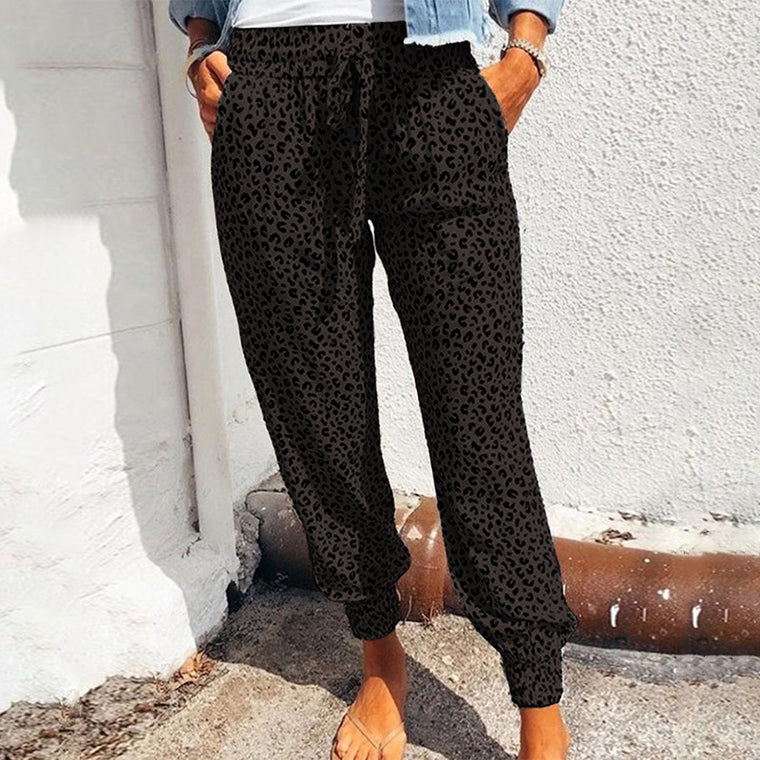 Europe and the United States leopard print slim dispute feet pants women 2021 summer new casual pants