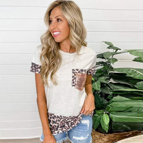 2021 Summer Leopard print t-shirt with a women's round-necked short-sleeved loose top