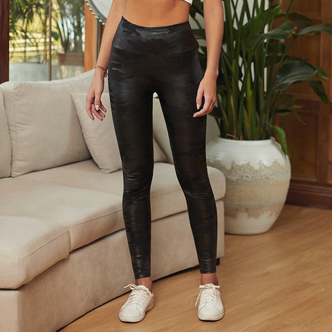 High waist solid color tight leather pants women's size casual leggings