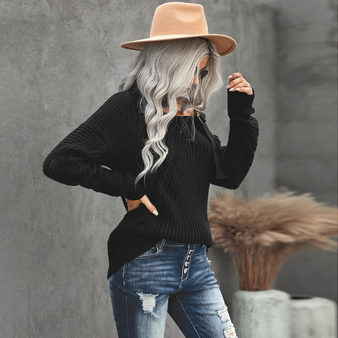 Solid high neck sexy shoulder strap buckle off shoulder long sleeve sweater