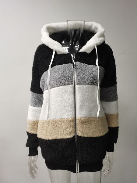 Hot selling burst autumn and winter loose plush multi-colored hooded coat girl