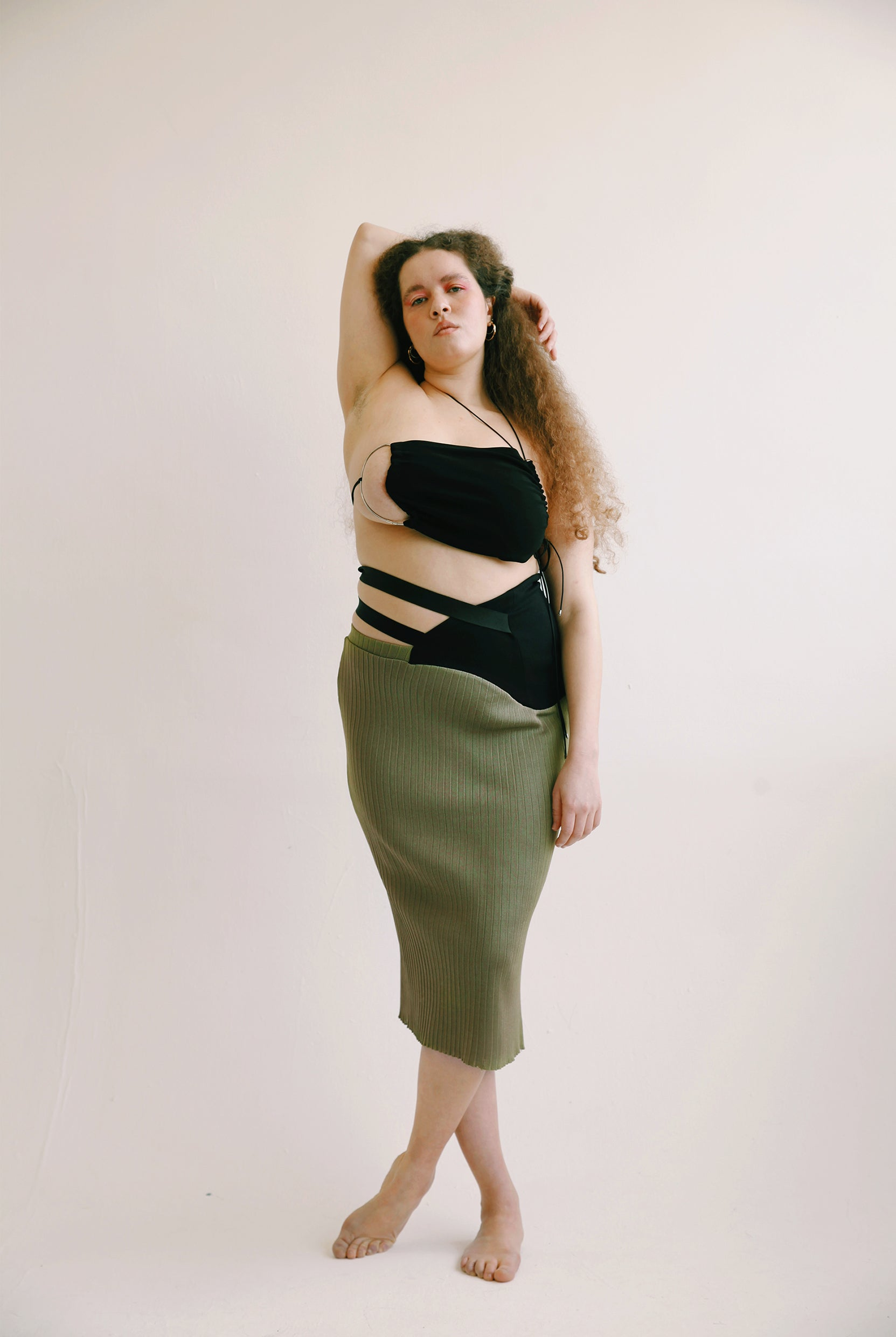 Wrapped Waist Olive Skirt