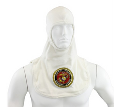 White PAC II 100% Nomex Marine Emblem Embroidered Majestic Firefighter Flash Hood