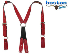 Red Boston Leather Fireman's Suspenders