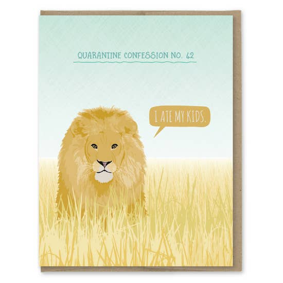 Quarantine Lion - Greeting Card