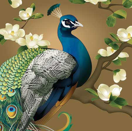 Peacock & Magnolias - Pop Up Greeting Card