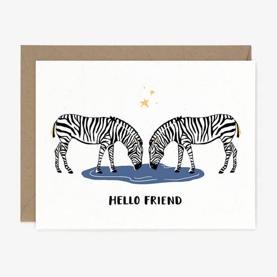 Hello Friend Zebra  - Greeting Card