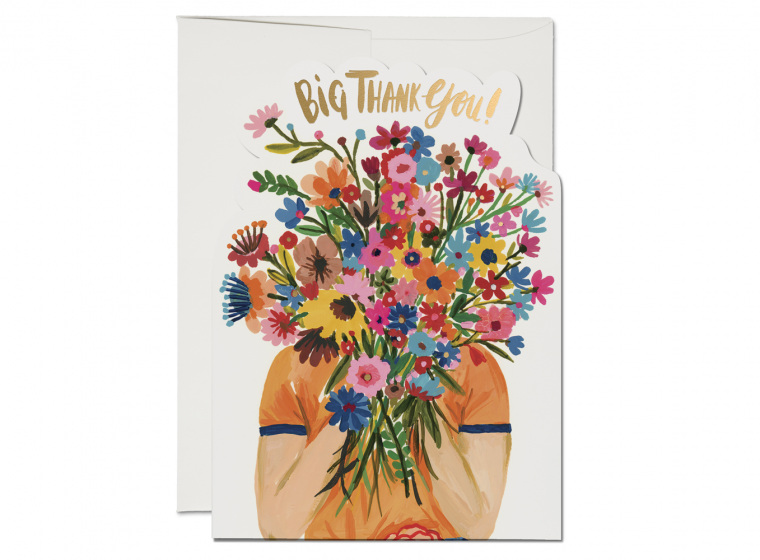 Face Full Of Flowers Thank You - Greeting Card