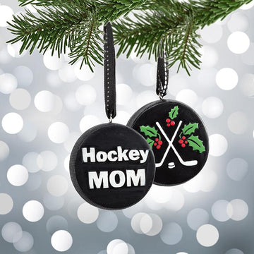 Hockey Mom Puck Ornament