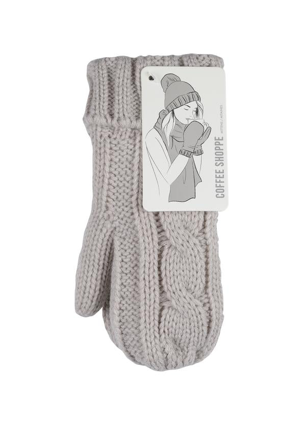 Cable Mittens - Silver Cloud