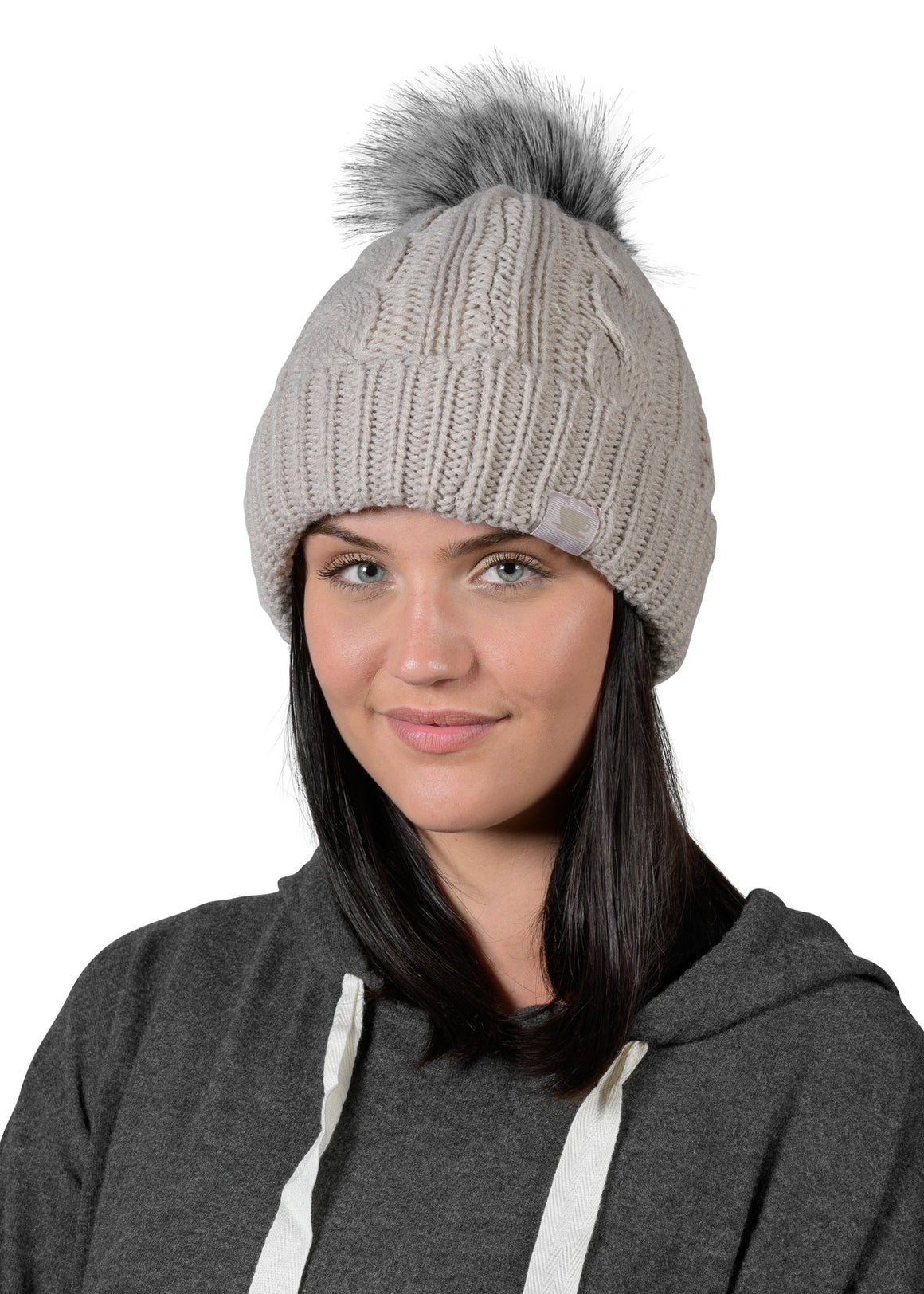 Cable Knit Toque - Silver Cloud