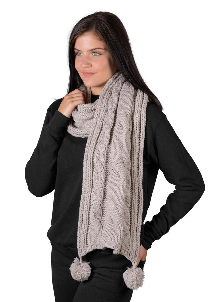 Cable Scarf - Silver Cloud