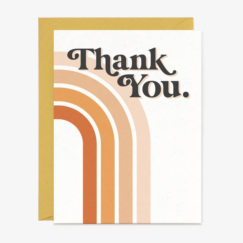 Thank you 70s Rainbow - Greeting Card