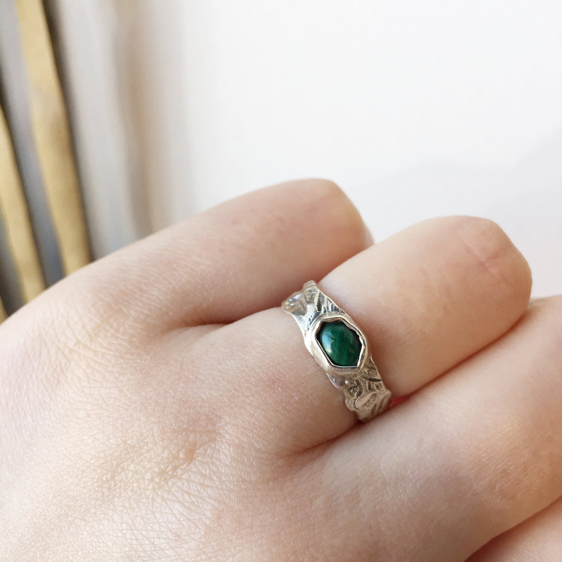 Textured Band Gemstone Ring - Malachite | LISSA BOWIE | JV Studios Boutique