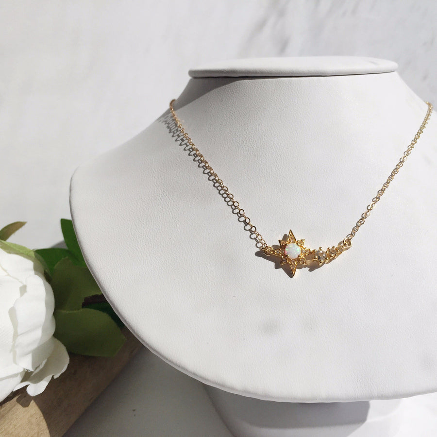 Opal & Topaz Shooting Star Necklace | LA KAISER