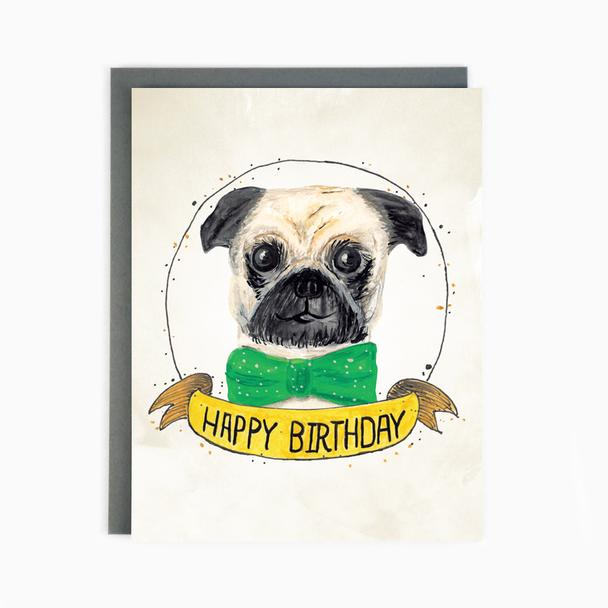 Birthday Pug - Greeting Card