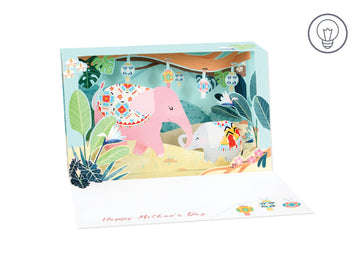 Elephant Shadow Box - Greeting Card