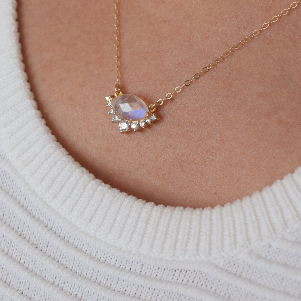 Rainbow Moonstone & Diamond Silver Lining's Necklace