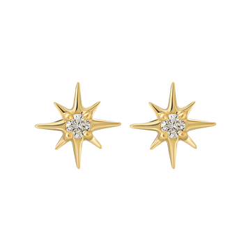 14K Mini Diamond Star Studs | LA KAISER