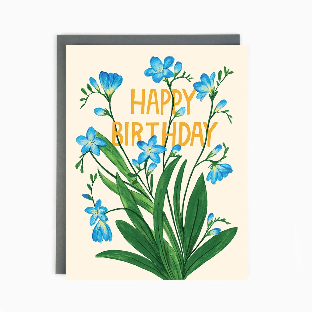 Freesias Birthday - Greeting Card