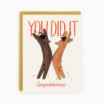 Graduation Dogs- Greeting Card