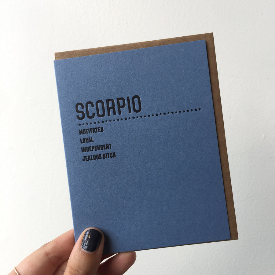 Scorpio Traits (Blue) - Greeting Card