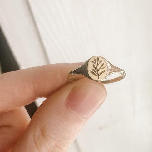 Mini Olive Branch Signet - Brass | CLAUS JEWELRY