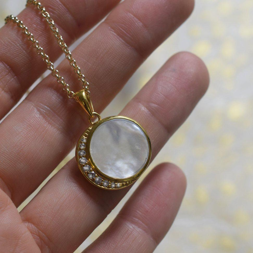 Mother of Pearl Moon Phase Pendant  | LA KAISER | JV Studios Boutique