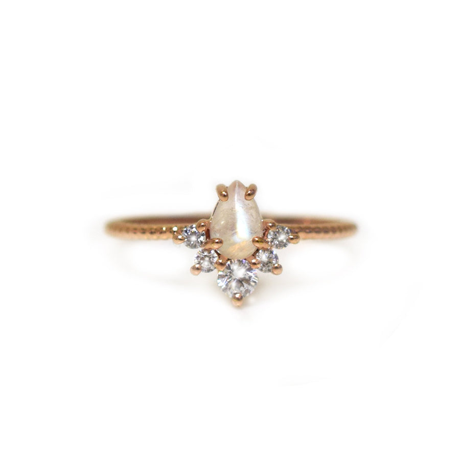 Rose Gold Rainbow Moonstone & Topaz Flutter Drop Ring | LA KAISER