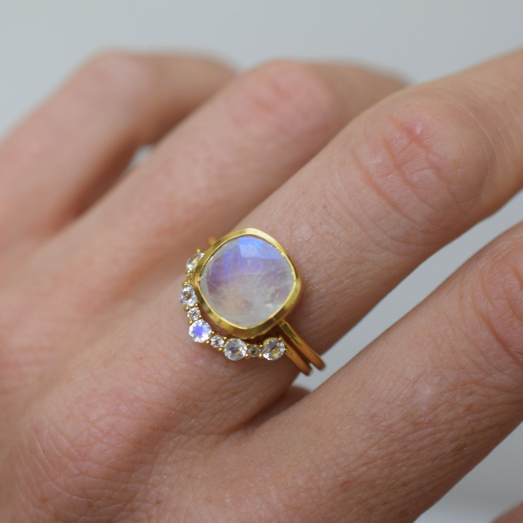 Rainbow Moonstone & Topaz Arc Ring | LA KAISER | JV Studios Boutique