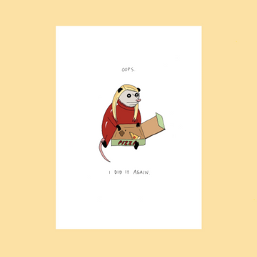 Oops Pizza - Greeting Card
