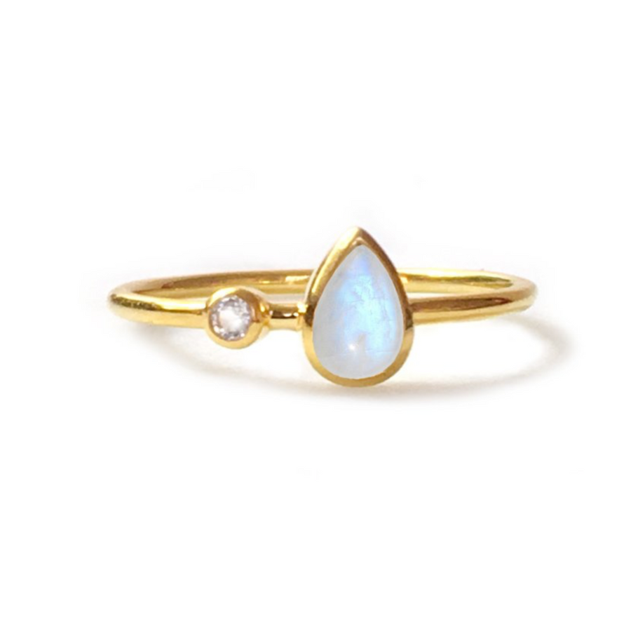 Rainbow Moonstone & Topaz Dew Drop Ring | LA KAISER