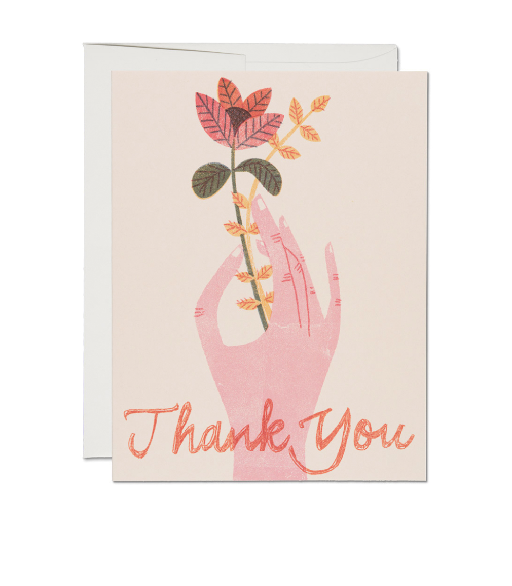 Hand Flower Thank You  - Greeting Card