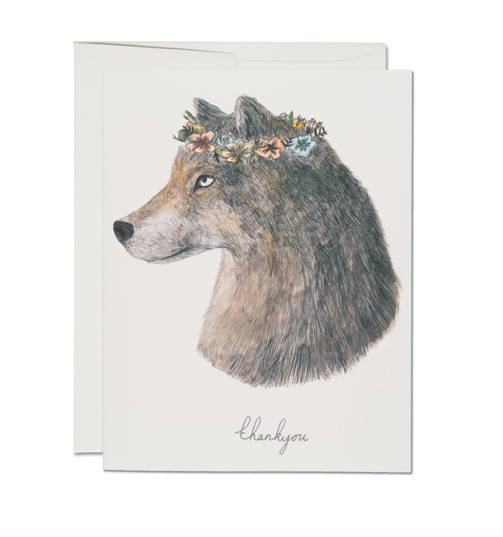 Wolf Thank You  - Greeting Card