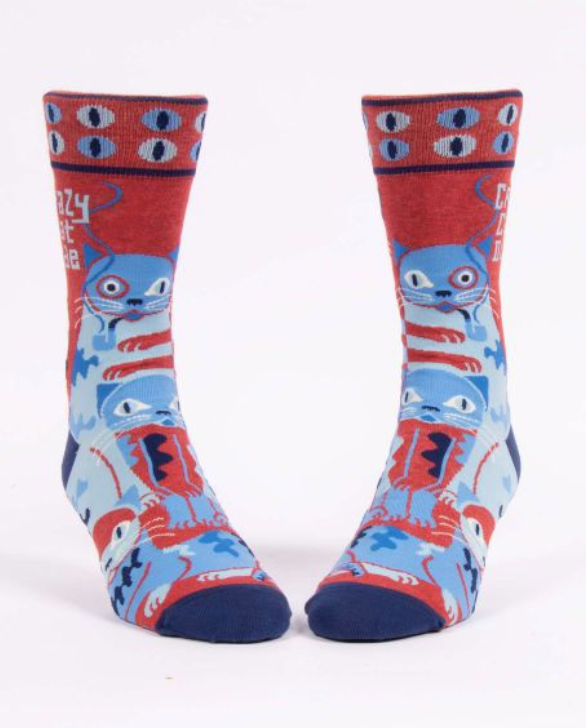Crazy Cat Dude Socks - Men