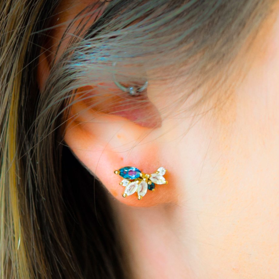 Moonstone & London Blue Topaz Butterfly Studs | LA KAISER | JV Studios Boutique