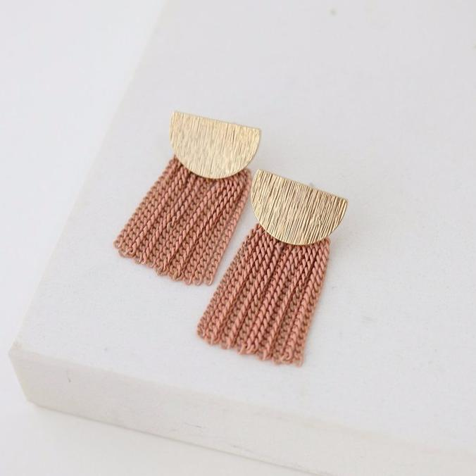 Sundown Fringe Earrings - Pink