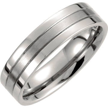 Titanium Grooved men's wedding Ring