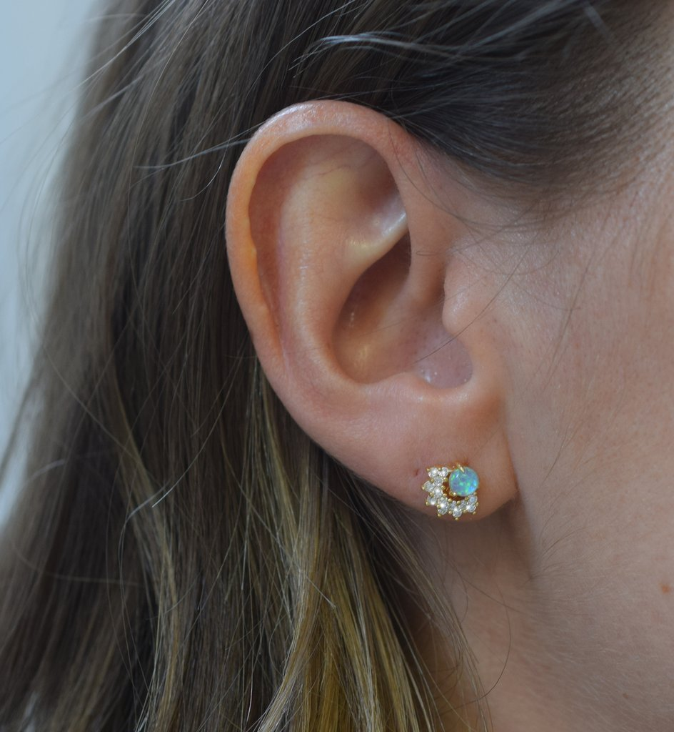 Blue Opal & Diamond Halo Studs