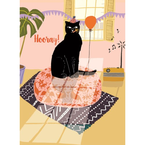 Hooray Cat - Greeting Card