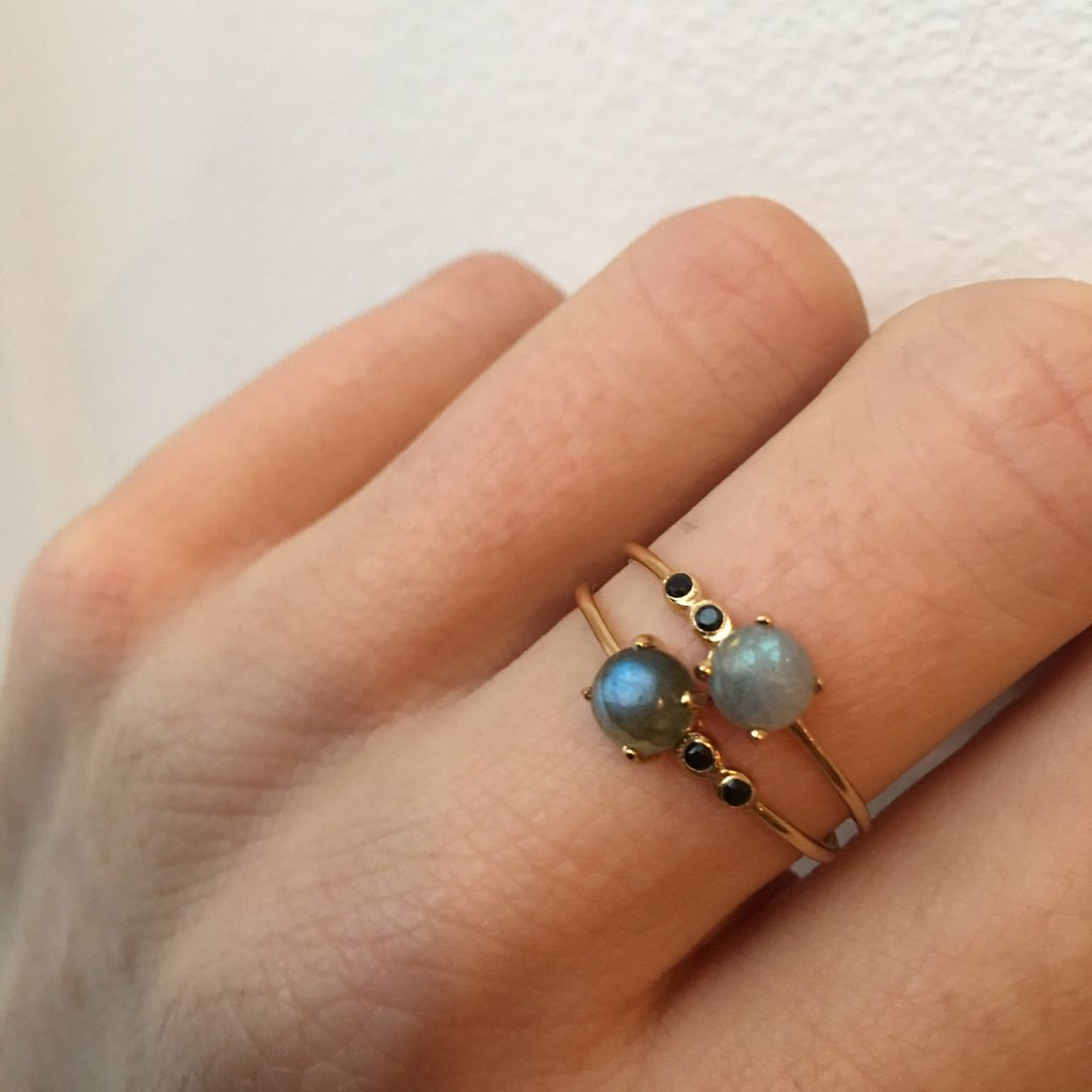 Labradorite & Black Spinel Fiesta Ring