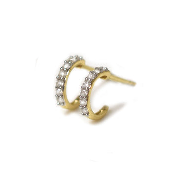 14K Diamond Mini Hoops | LA KAISER