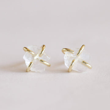 Raw Gemstone Earrings - Clear Quartz