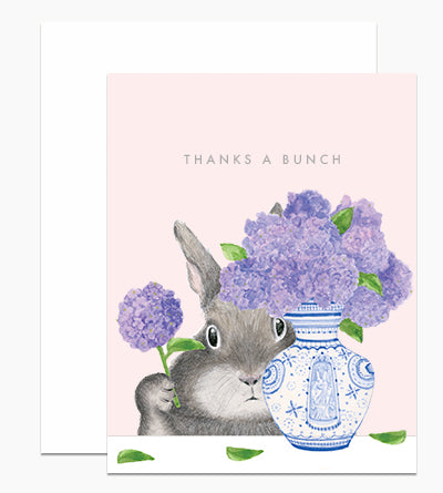 Bunny Lilac Thanks - Greeting Card