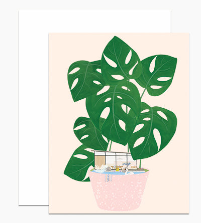 Modern House Plant - Greeting Card