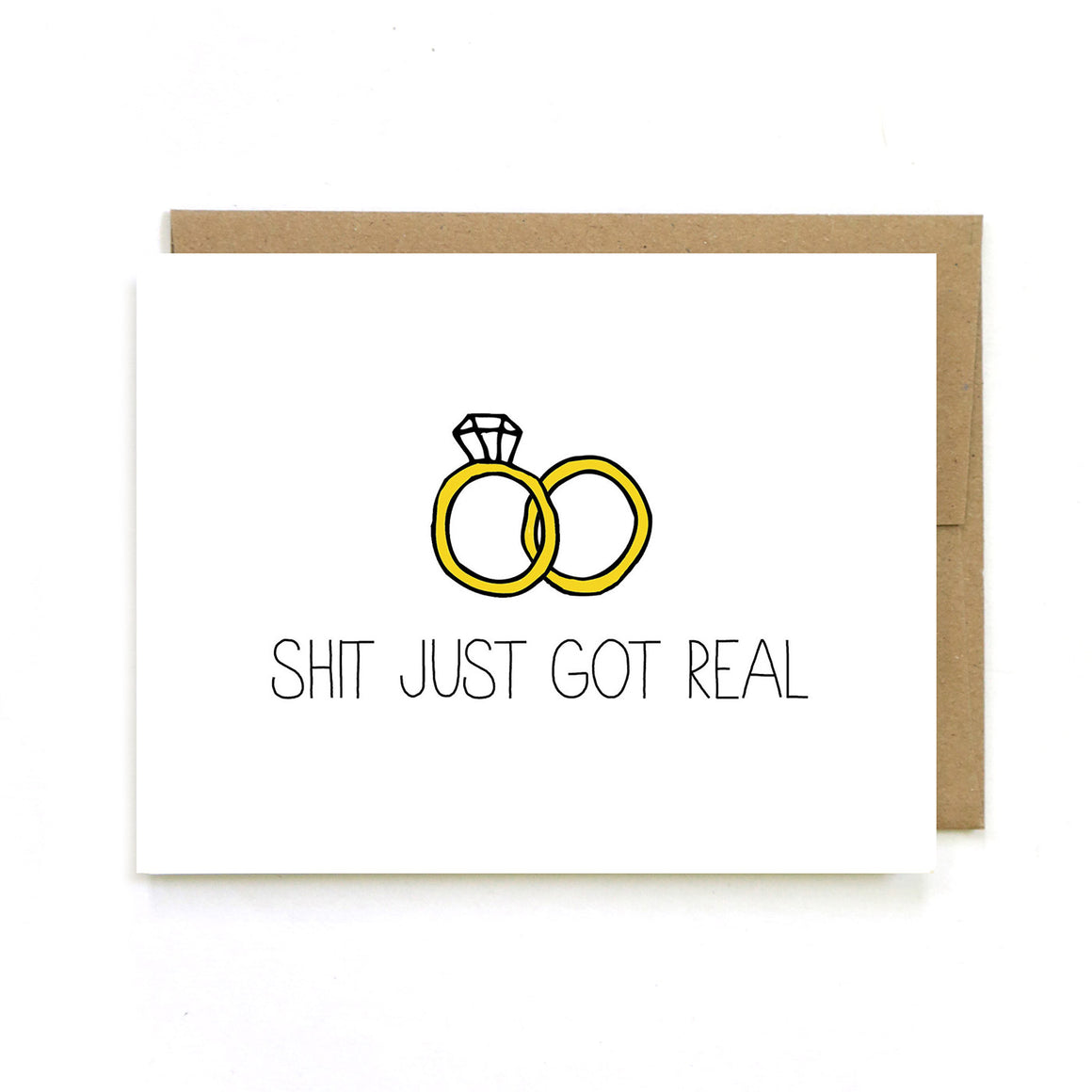 Shit Just Got Real Wedding - Greeting Card