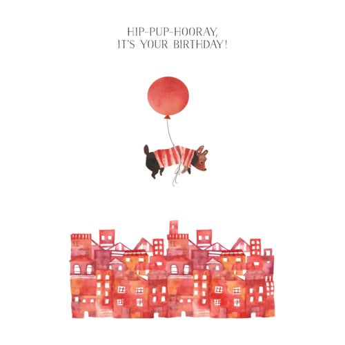 Floating Balloon Dog - Greeting Card